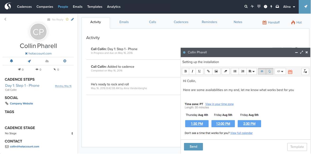 Time slots in Salesloft compose window