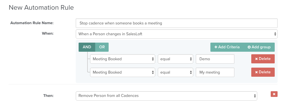 Stop a cadence when someone books a meeting