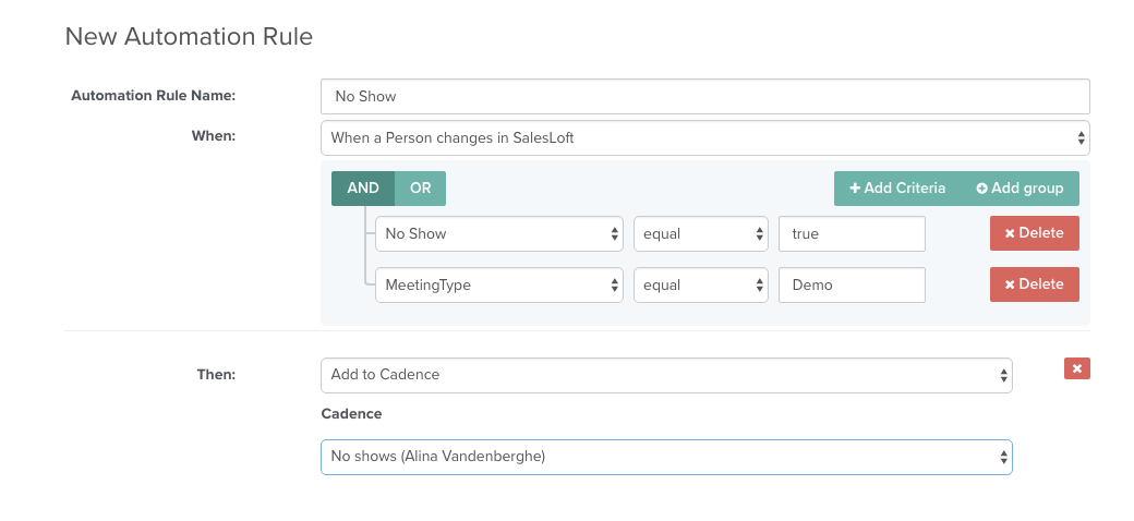 Cadence when prospect is a no show