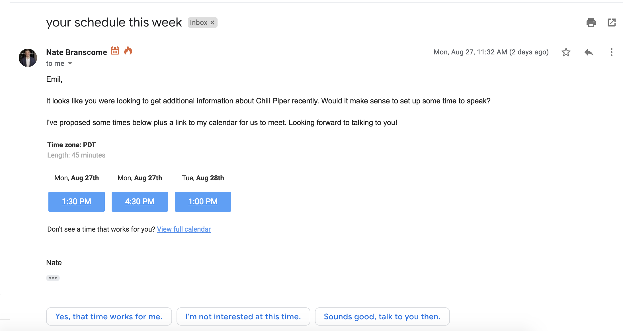 We Tested Suggested Times vs  Link to Calendar in Emails