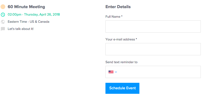 Calendly email SMs reminders