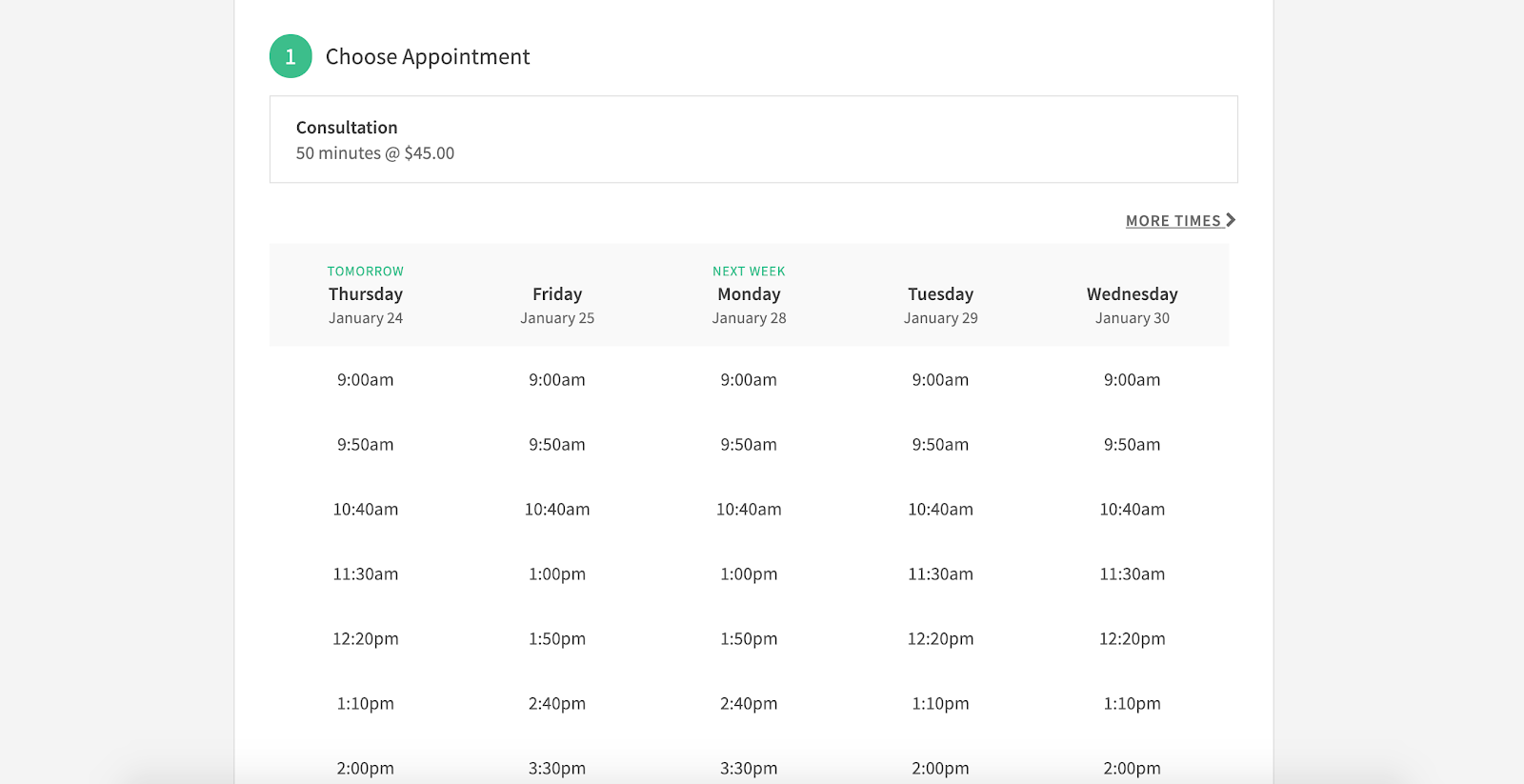 Schedule Appointment with Test account